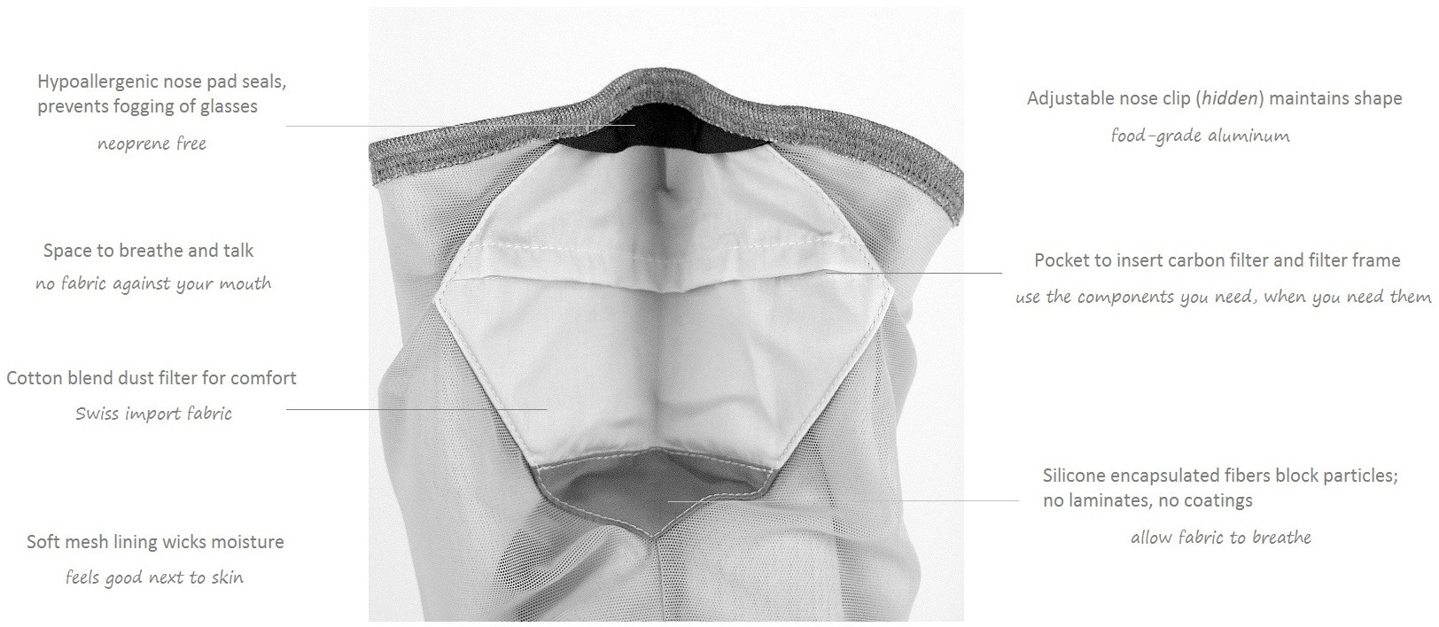 Mask scarf has a neoprene free dust mask and carbon filter by Skotti